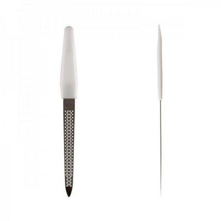 Пилка для ногтей с белой ручкой, перфорированная, средняя