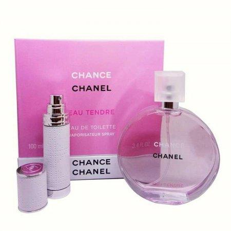 Уценка Подарочный набор Chanel Chance Eau Tendre (парфюм 100 ml и атомайзер 7,5 ml) - примятая упак.