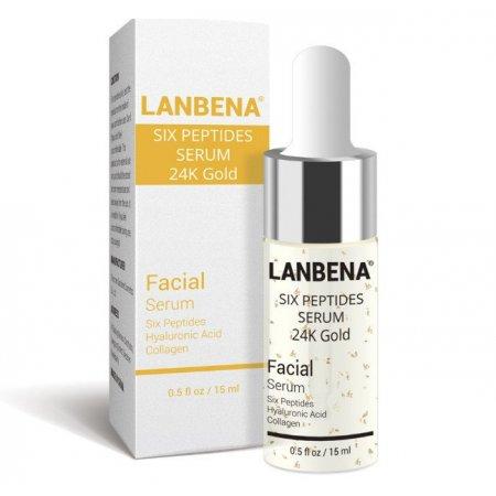 Антивозрастной серум для лица Lanbena Peptides Serum 24K Gold с 6-ю пептидами и 24 каратным золотом 15 г