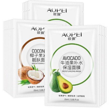 Маска для лица Aopei тканевая с экстрактом кокоса и экстрактом авокадо 25 мл