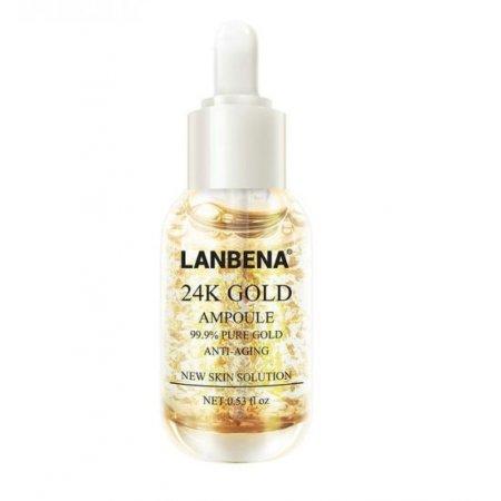Антивозрастная укрепляющая сыворотка для лица Lanbena Gold Ampoule с 24 каратным золотом 15 мл
