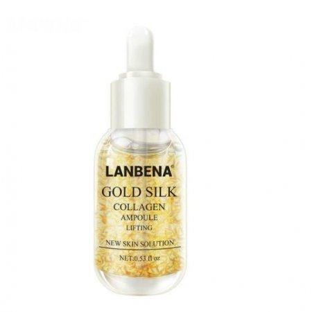 Антивозрастная осветляющая сыворотка для лица Lanbena Gold Silk Collagen Ampoule с фиброином шелка и золотом 15 мл