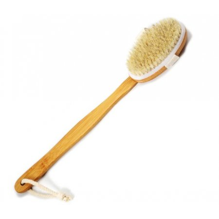 Бамбуковая массажная  щетка для тела ВODY BRUSH с 100% белой щетиной кабана