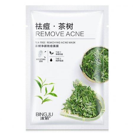 Маска для лица Bingju TEA TREE REMOVING ACNE MASK с экстрактом алоэ и листьями зеленого чая 28 гр