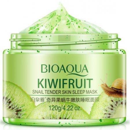 Ночная витаминная маска для лица BIOAQUA KIWIFRUIT SNAIL TENDER SKIN SLEEP MASK с экстрактом киви и фильтратом улитки  120 гр