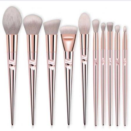 Набор кистей для макияжа из мягкого высококачественного волокна Pink Flower 10 шт
