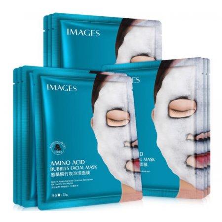 Очищающая тканевая кислородная маска для лица  IMAGES BUBBLES MASK AMINO ACID с аминокислотами коллагена и бамбуковым углем 25мл (1 шт)