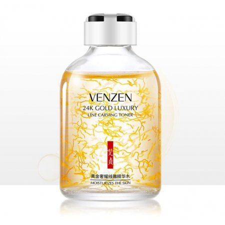 Тонер-сыворотка для лица VENZEN 24K Gold Luxury Line Carving Toner с золотом 24К 50 мл