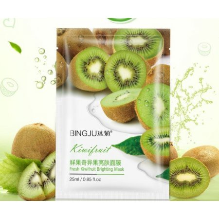 Тканевая маска для лица BINGJU Fresh Kiwifruit Brighting Mask с экстрактами морских водорослей, киви и плодов гуавы 25 мл