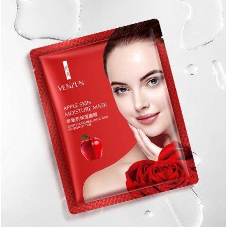 Тканевая маска для лица VENZEN APPLE SKIN MOISTURE MASK с яблочным соком и гиалуроновой кислотой 25 гр