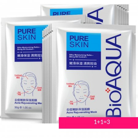 Акция! 1+1=3  Маска для лица Bioaqua Pure Skin Acne. На заказы от 200 грн