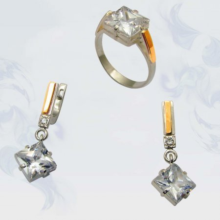 Гарнитур из серебра с золотыми вставками, модель 001