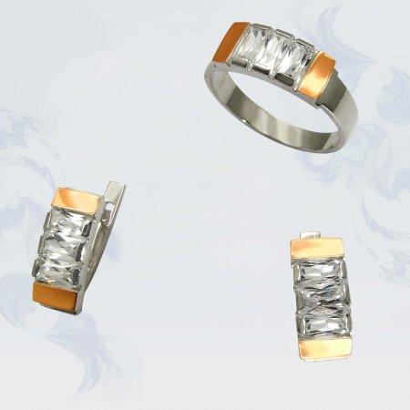 Гарнитур из серебра с золотыми вставками, модель 014