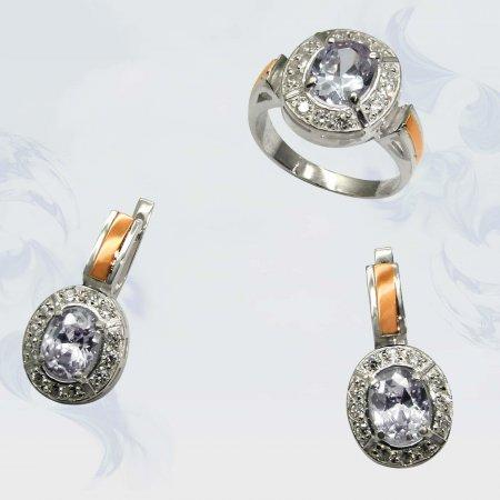 Гарнитур из серебра с золотыми вставками, модель 025