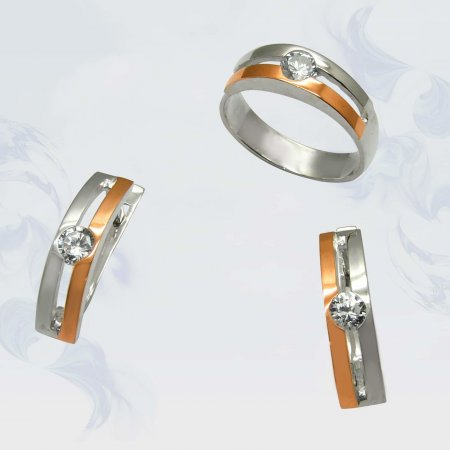 Гарнитур из серебра с золотыми вставками, модель 027