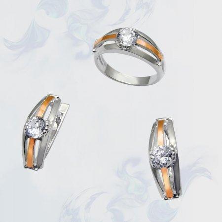 Гарнитур из серебра с золотыми вставками, модель 033