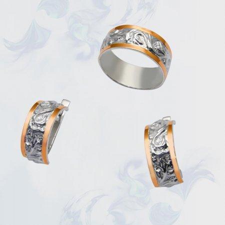Гарнитур из серебра с золотыми вставками, модель 036