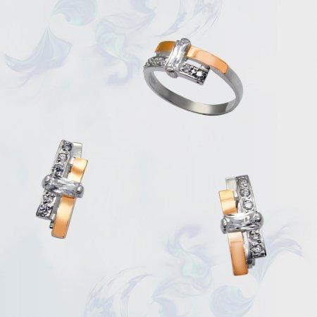Гарнитур из серебра с золотыми вставками, модель 038