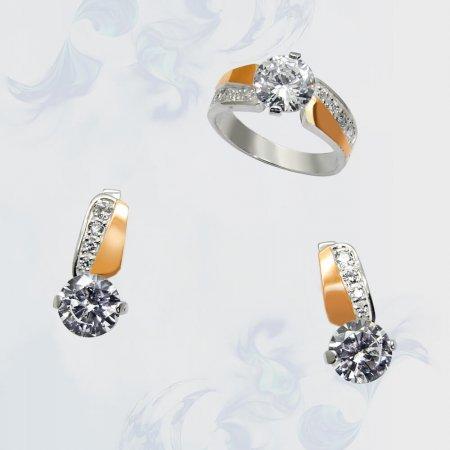 Гарнитур из серебра с золотыми вставками, модель 046