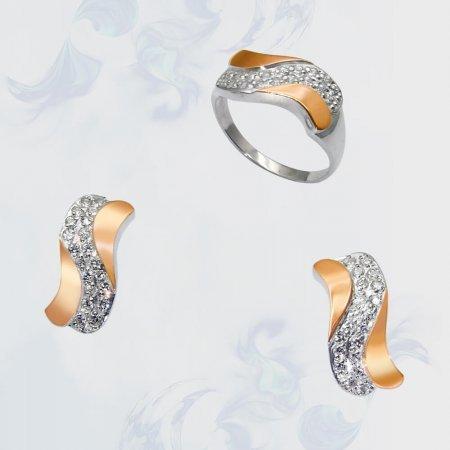 Гарнитур из серебра с золотыми вставками, модель 048