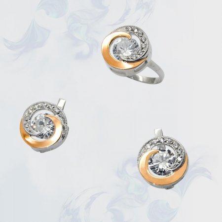 Гарнитур из серебра с золотыми вставками, модель 053