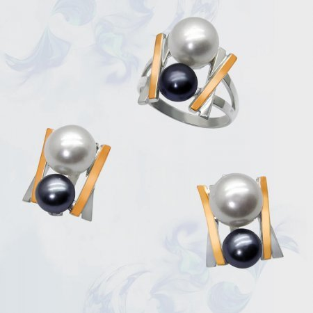 Гарнитур из серебра с золотыми вставками, модель 054