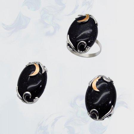 Гарнитур из серебра с золотыми вставками, модель 059