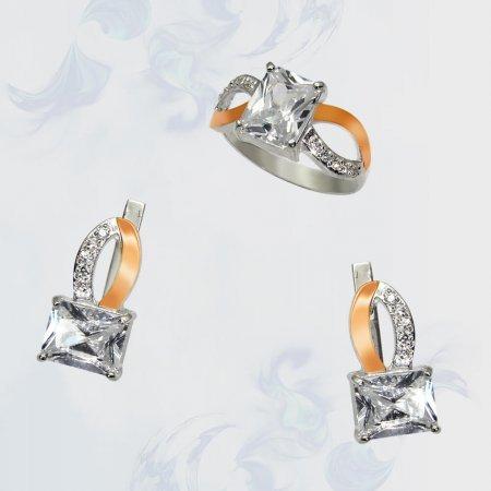Гарнитур из серебра с золотыми вставками, модель 061