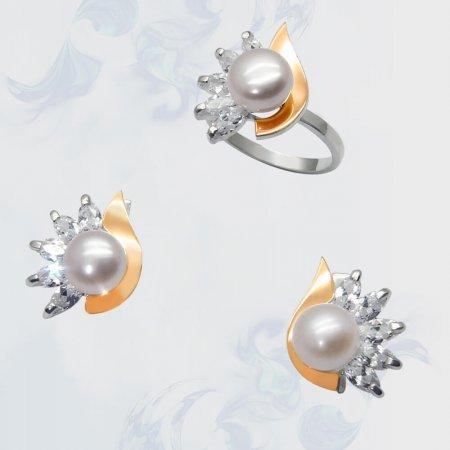Гарнитур из серебра с золотыми вставками, модель 062