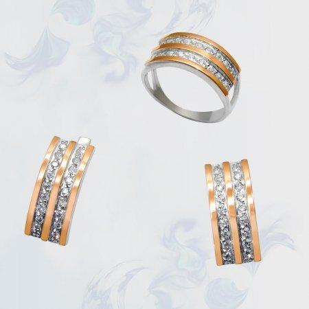 Гарнитур из серебра с золотыми вставками, модель 066