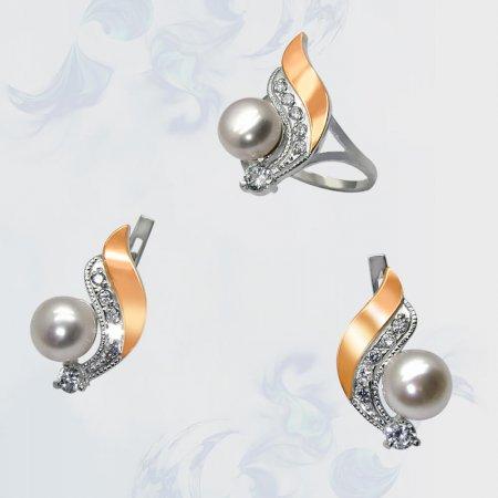 Гарнитур из серебра с золотыми вставками, модель 067