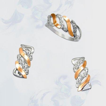 Гарнитур из серебра с золотыми вставками, модель 070
