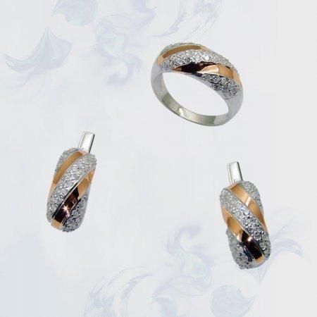 Гарнитур из серебра с золотыми вставками, модель 074