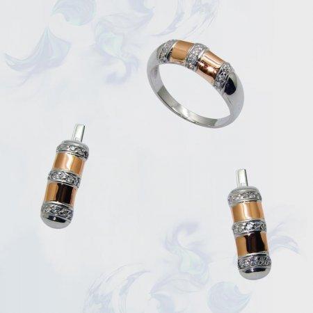 Гарнитур из серебра с золотыми вставками, модель 076