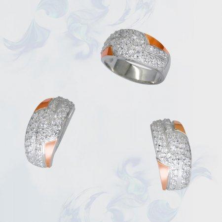 Гарнитур из серебра с золотыми вставками, модель 083
