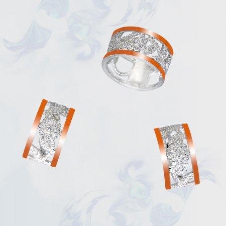 Гарнитур из серебра с золотыми вставками, модель 086