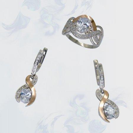 Гарнитур из серебра с золотыми вставками, модель 099