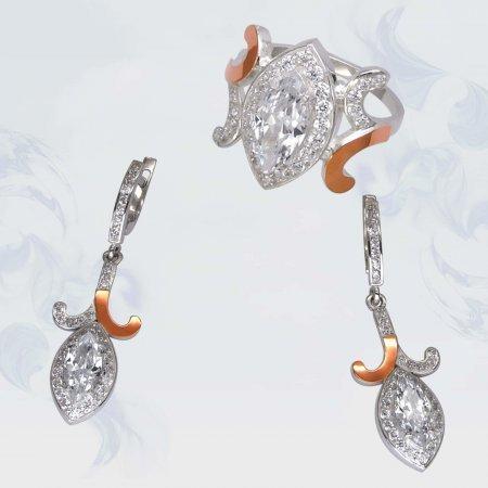 Гарнитур из серебра с золотыми вставками, модель 100