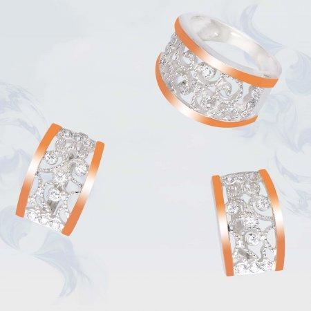 Серьги из серебра с золотыми вставками, модель 101