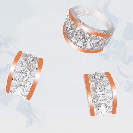 Серьги из серебра с золотыми вставками, модель 102