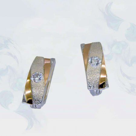 Серьги из серебра с золотыми вставками, модель 104