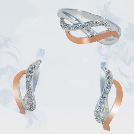 Гарнитур из серебра с золотыми вставками, модель 144