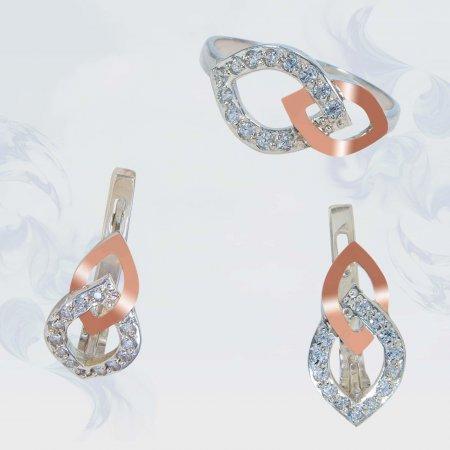 Гарнитур из серебра с золотыми вставками, модель 149