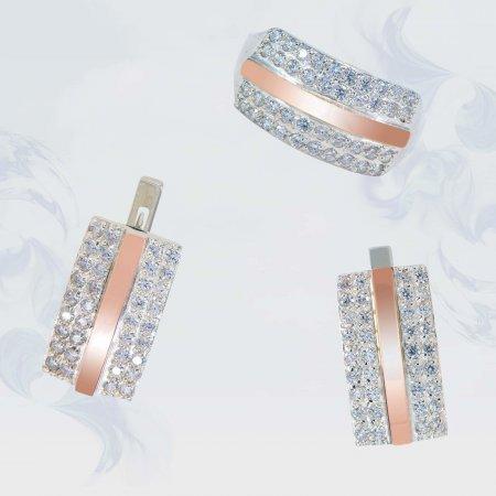 Гарнитур из серебра с золотыми вставками, модель 165