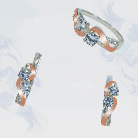 Гарнитур из серебра с золотыми вставками, модель 179