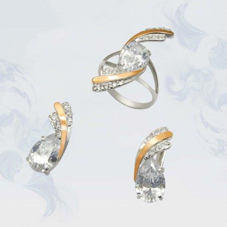 Гарнитур из серебра с золотыми вставками, модель 060