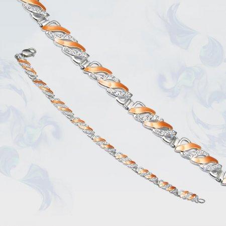 Браслет из серебра с золотыми вставками, модель 070