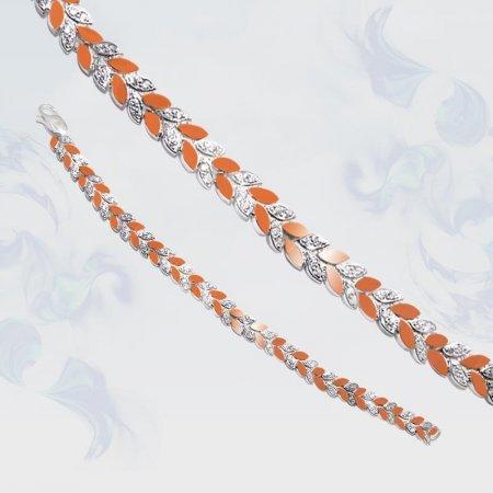 Браслет из серебра с золотыми вставками, модель 075