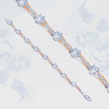 Браслет из серебра с золотыми вставками, модель 091