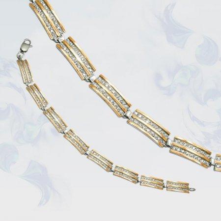 Браслет из серебра с золотыми вставками, модель 066